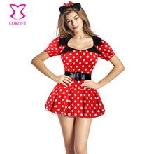 Blanc à pois rouge Mini robe fantaisie Anime Cosplay Sexy vilain Animal souris Costume Halloween Costumes pour femmes adultes