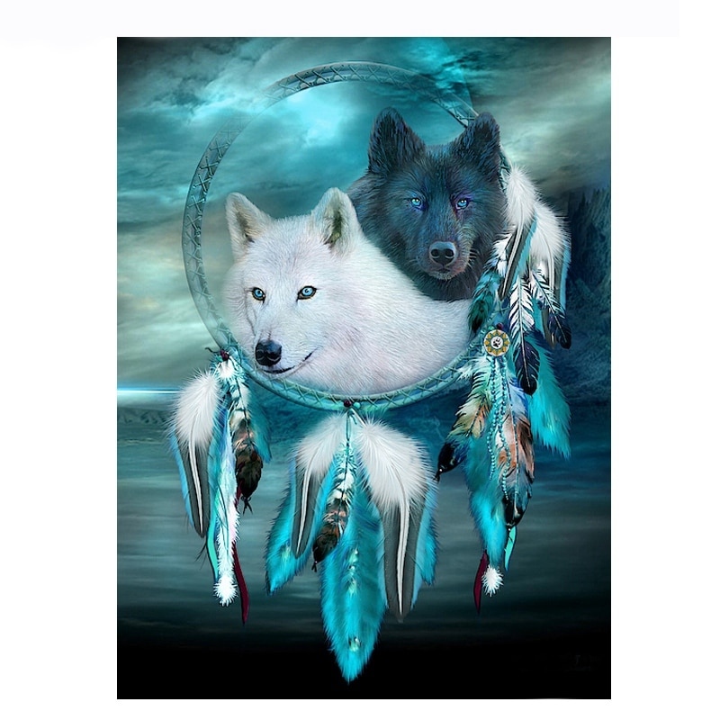 DSHA Full Round Diamond 5D Diy Diamond Painting Indian Wolf Feather Diamond Cross Stitch Rhinestone Mosaic Painting Decor Gift