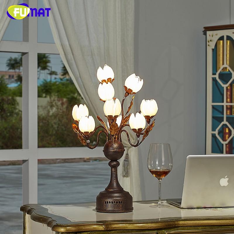Lámpara de mesa de cristal FUMAT, lámpara de sombra de flor de loto Pastoral de moda para sala de estar, lámpara artística para decoración, luces LED de mesa de cristal