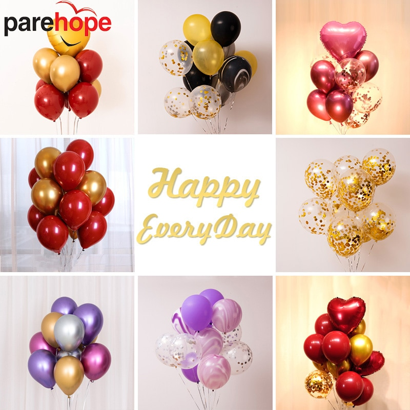 Globos de látex transparentes de 12 pulgadas de 10 Uds., globos de confeti de color rojo rubí de macarrón metálico de mármol, Decoración de cumpleaños, globos de boda para fiestas