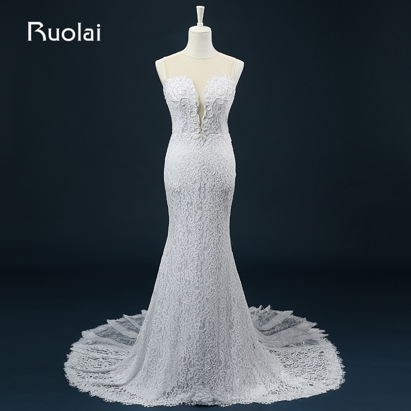 Vestido de Novia largo de encaje con perlas, traje de Novia con...