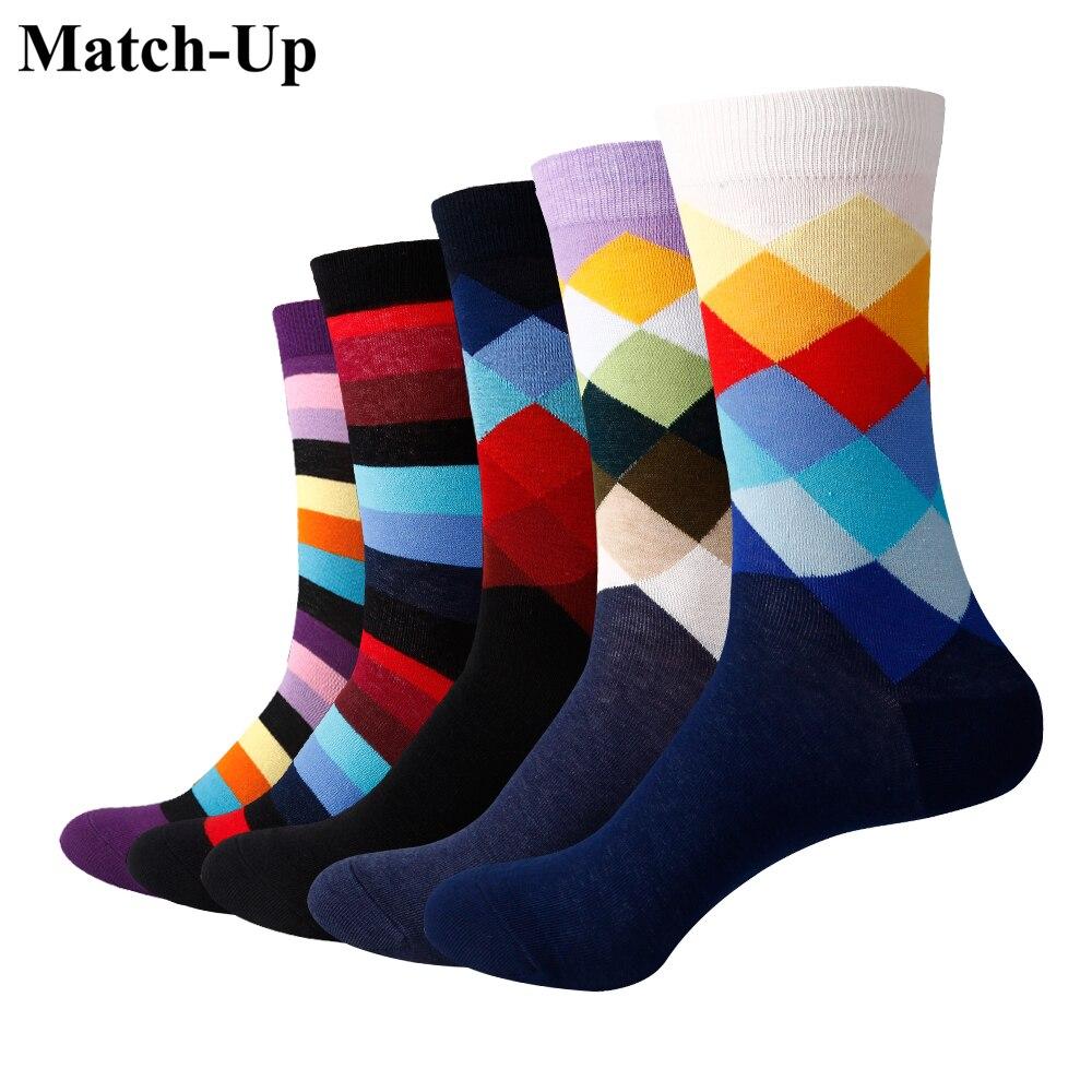 Подходящие мужские градиентные цветные носки, брендовые деловые носки (5 пар/лот)
