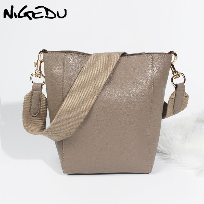 NIGEDU brand design bucket Shoulder bag for Women handbags leather messenger bags wide shoulder straps women's big totes bolsa