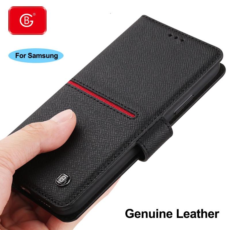 جراب محفظة جلد أصلي فاخر لهاتف Samsung ، جراب هاتف مقاوم للصدمات لهاتف Galaxy S9 ، S10 ، S20 Plus ، Note 8 ، 9 ، 10 ، 20