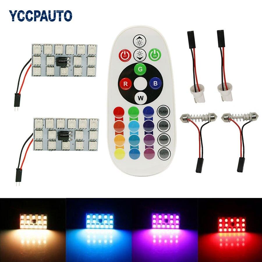 Festón T10, domo RGB, Panel LED, lámpara de lectura Interior para coche, lámpara de mapa, luz 31/36/39/41mm, Control remoto, Flash estroboscópico, 16 colores