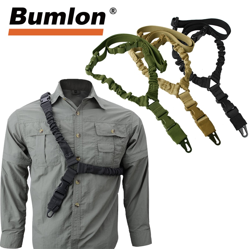 Adjustable Tactical Gun Sling Belt Single Point 1000D Heavy Duty Mount Bungee Military Rifle Sling Kit Airsoft Strap HT30-0001 magorui heavy duty tactical one single point sling adjustable bungee rifle gun sling strap