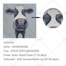 Peinture de vache faite main sur toile   Décoration murale, peinture à lhuile encadrée, photos murales de magasin de cadeaux pour salon