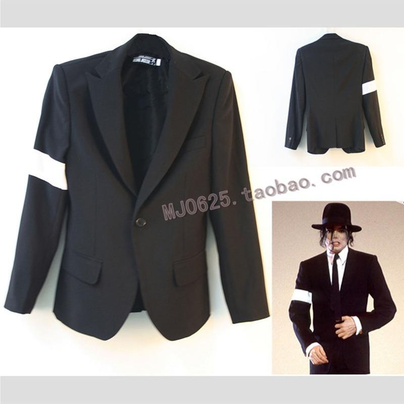 بدلة MJ Michael Jackson BAD Tour ، أزياء رجالية ، بدلة سوداء مع سوار ، بانك بليزر
