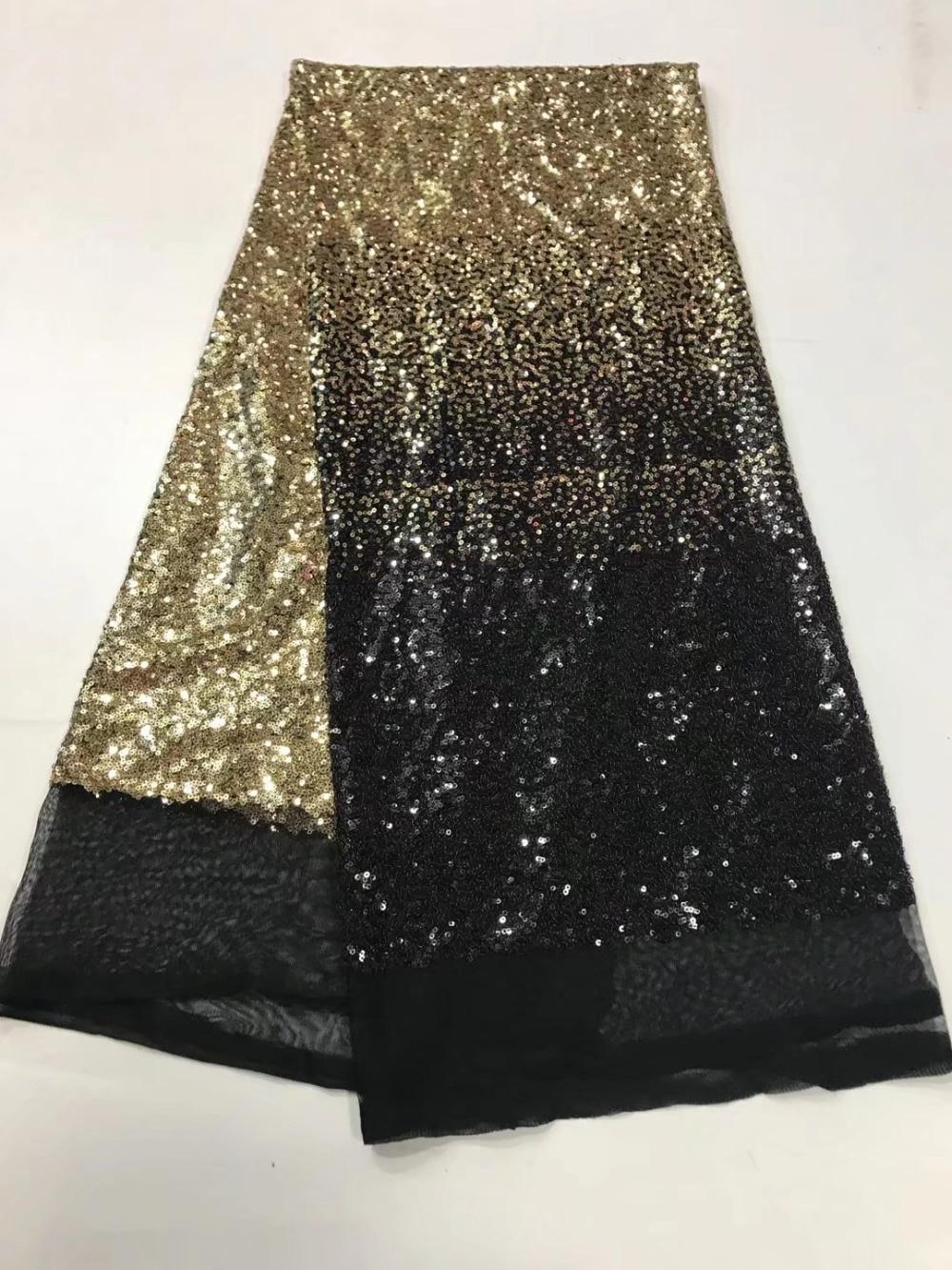 Золотая и черная Мелодия органза французские шнурки Ткань с блестками Высокое качество двойной цвет тюль чистая кружева Мягкая ткань для ж...