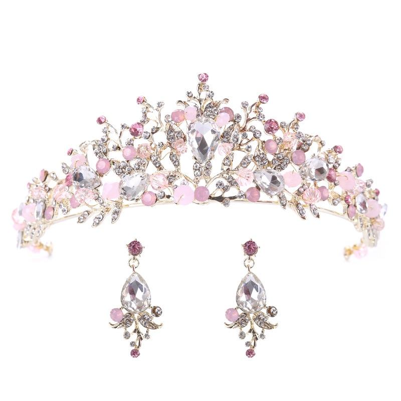 Luxo-Tiara Nupcial Rosa de Ouro, Diadema de Cristal para boda, accesorios de...