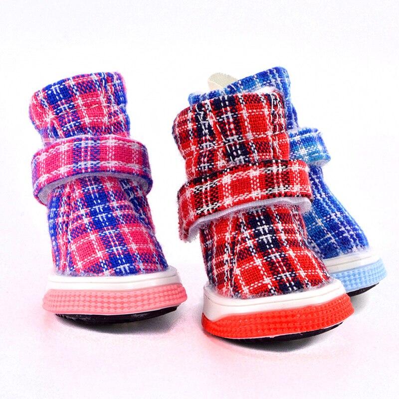 Nuevos zapatos a cuadros para perros, botas cálidas para invierno y otoño para mascotas, 4 unids/set de accesorios para calzado de gatos y razas de cachorros para animales pequeños Yorkov