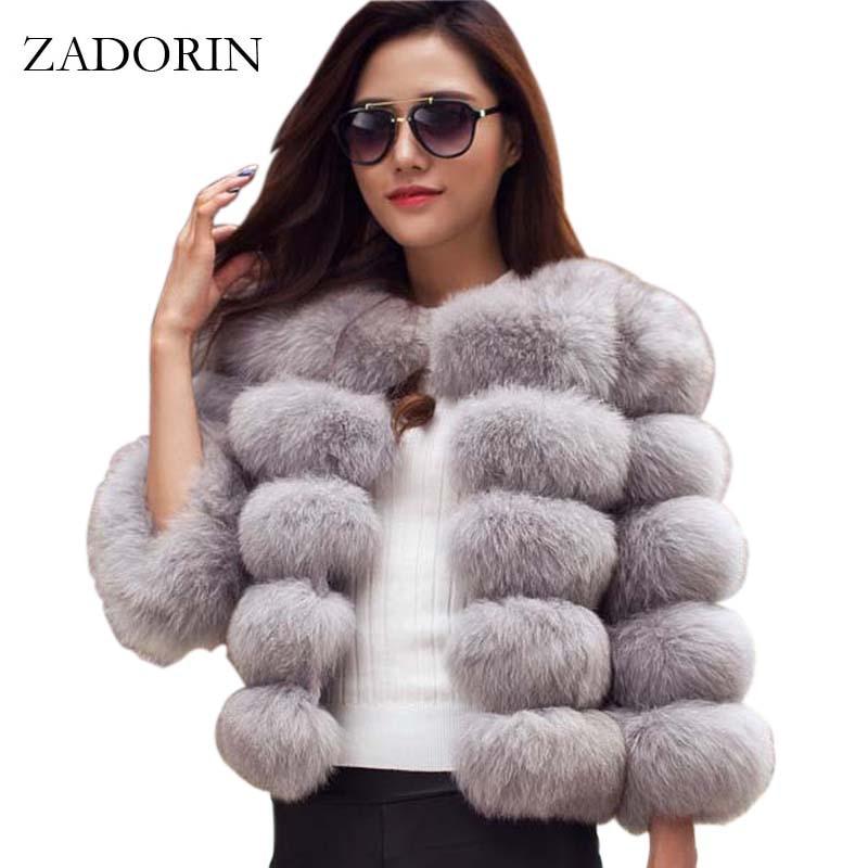 ZADORIN S-3XL Mink Coats Women 2020 Winter Top Fashion Pink FAUX Fur Coat Elegant Thick Warm Outerwear Fake Fur Woman Jacket