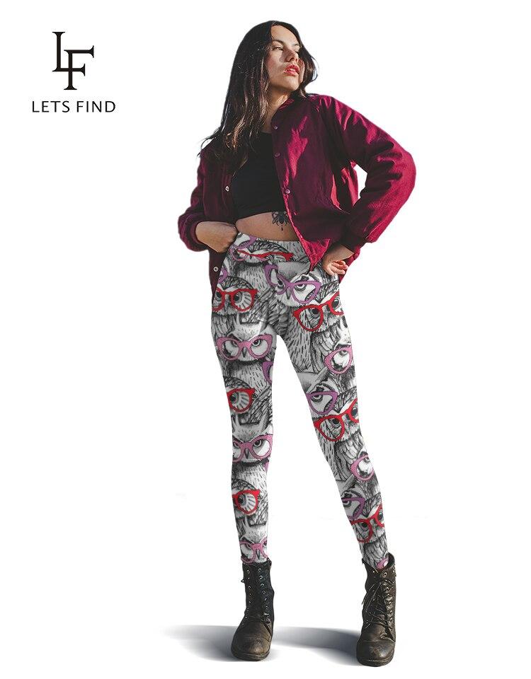 LETSFIND mujeres cintura alta pantalones elásticos para Fitness nuevo búho de dibujos animados impreso elástico suave pantalones de talla grande gran oferta