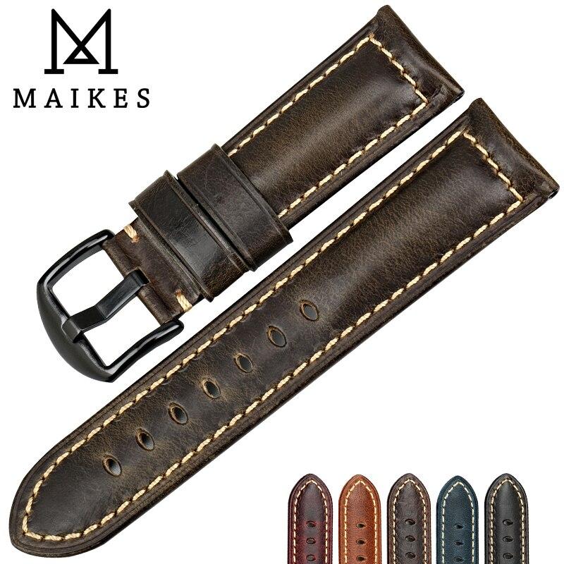 Браслет для часов MAIKES, винтажный ремешок для часов из вощеной кожи, 20 мм, 22 мм, 24 мм, 26 мм
