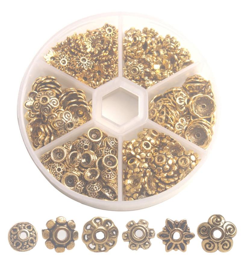 One Box of 360PCS Mixed Lots Antiqued Gold Metal Bead Caps 6mm-10mm