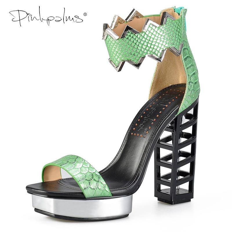 Pink Palms Shoes Women Fretwork Heels Sandals Summer 2019 New Female Shoes Sexy Snake Print Metallic Platform Wedges Sandals BK
