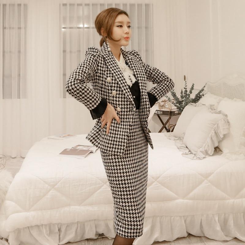 بدلة تنورة أنيقة للسيدات بأزرار واحدة وبليزر ضيق وبطول متوسط تنورة للخريف 2018 منقوشة قطعتين طقم فيمينينو