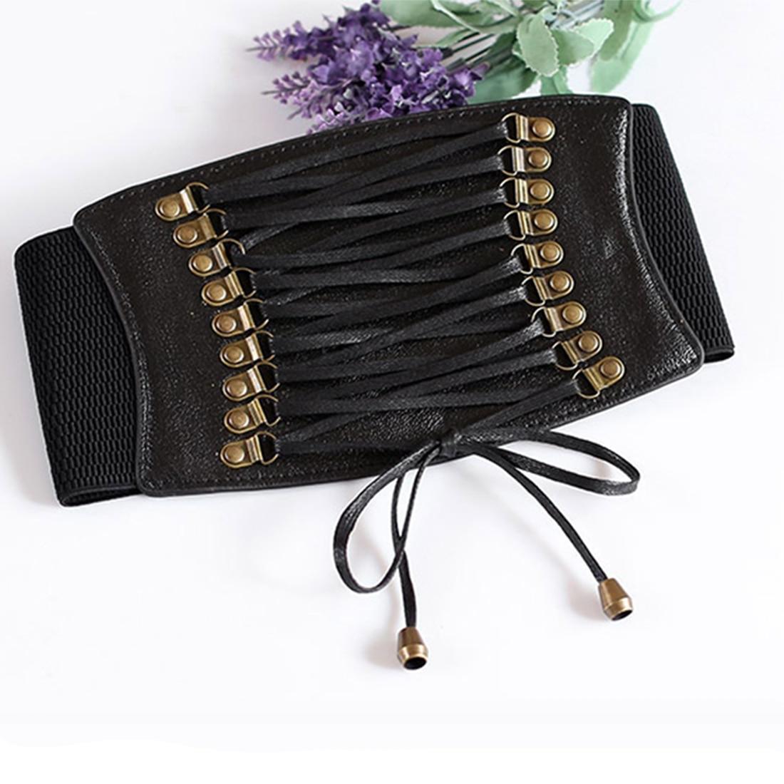 Charming Women Ladies Strap Buckle Cinch Belts Corset Stretch Skinny Waistband High Waist Slimming Waist Belts