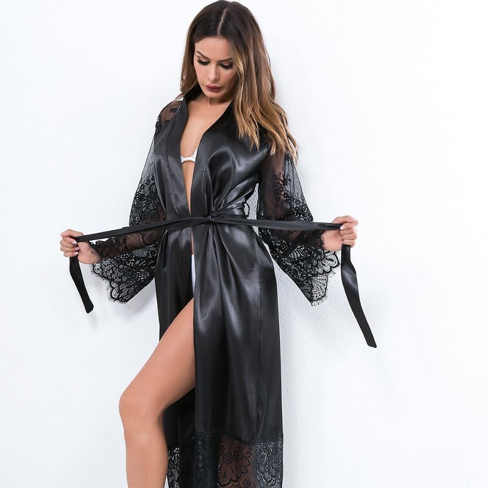 Sexy sleepwear cetim camisola para senhoras manga longa plus size roupa de noite íntima vestido sexy lenceria mujer