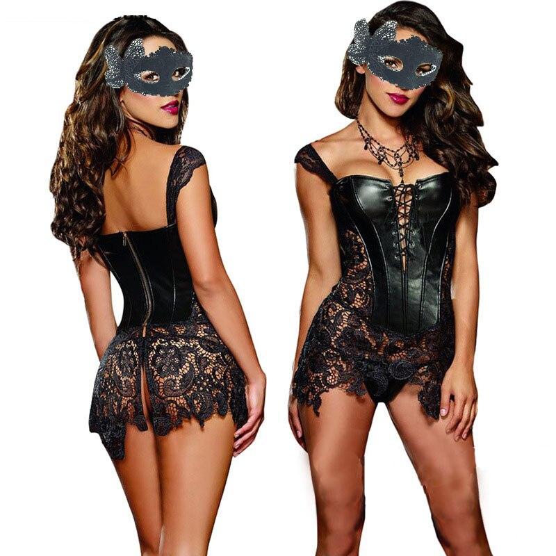 Сексуальное женское белье с стринги, набор из искусственной кожи и кружева, корсет в стиле стимпанк, готическое бюстье размера плюс
