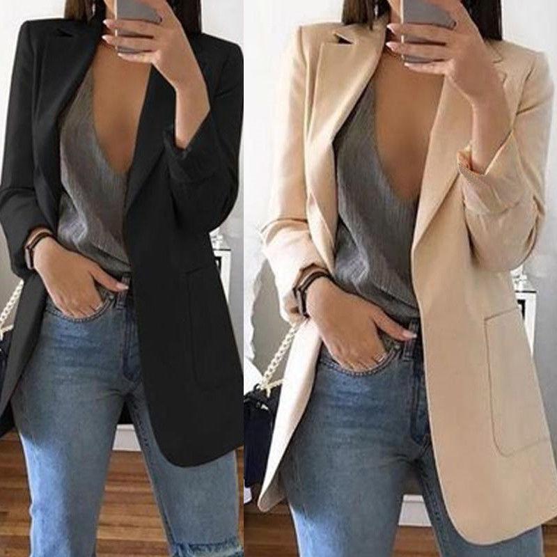Moda Slim Blazers mujer otoño primavera traje chaqueta mujer trabajo Oficina señora traje negro con bolsillo negocios chaqueta con muescas