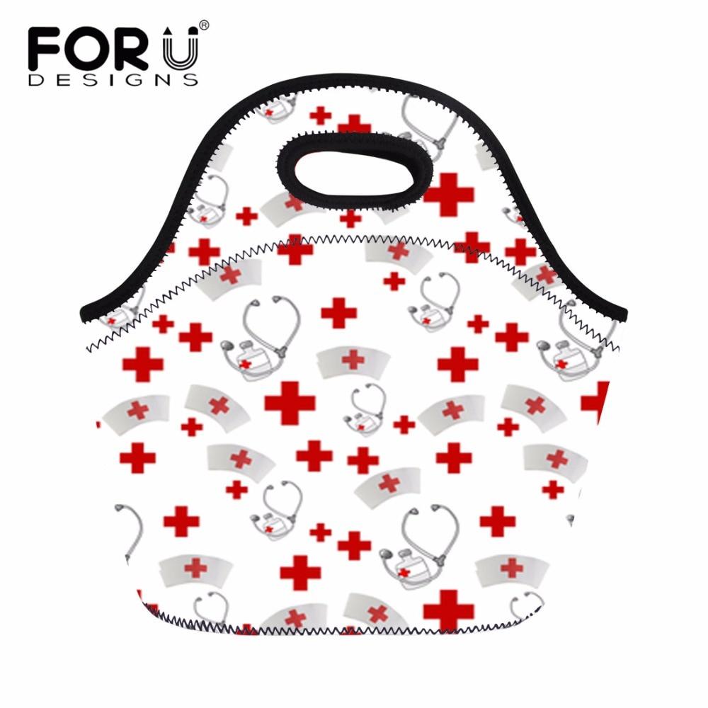 FORUDESIGNS Neoprene Thermal Lunch Bag Nursing Coordinates Printed Cooler Storage Picnic For Women Kids Food Bag Tote Handbags