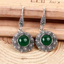 Naturel noir vert pierre boucle doreille 925 argent femmes Vintage S925 Thai argent boucle doreille boucles doreilles goutte