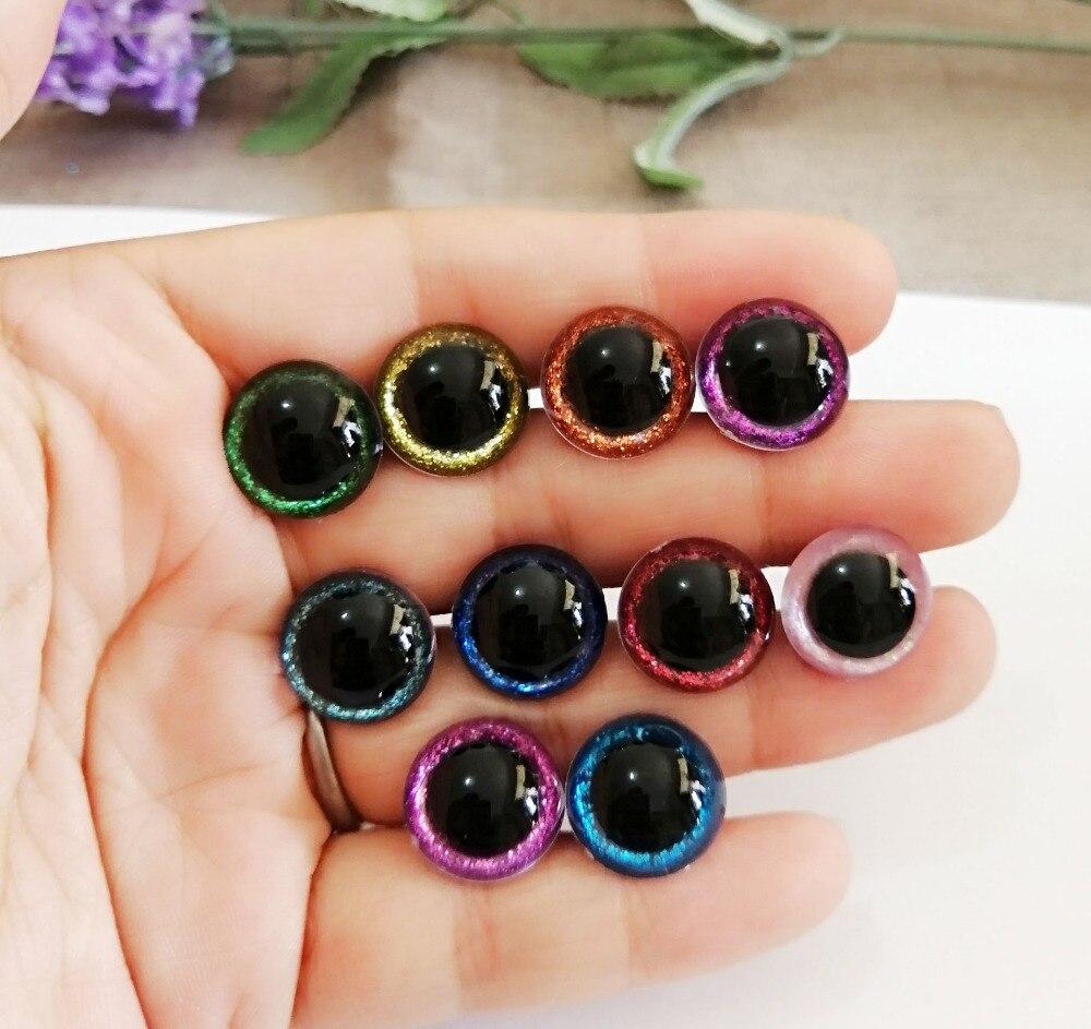 Круглые пластиковые прозрачные глаза для игрушек, 20 компл./лот, 13 мм/15 мм, безопасные глаза + блестящий материал + Жесткая мойка для плюшевых кукол, выбор Размера