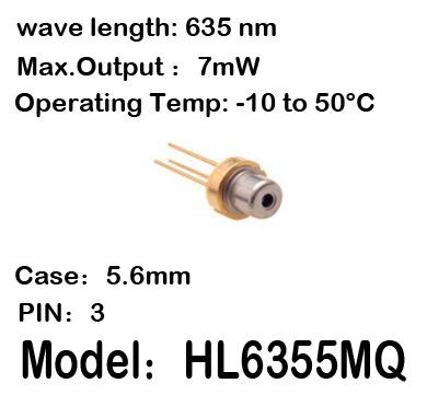 2-20 pz/lotto HL6355MQ 635nm 7mW 5.6 millimetri 3-pin -10 per 50C temp di funzionamento del Laser diodo