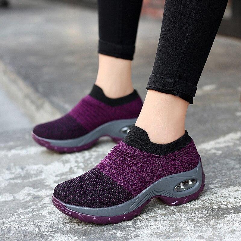 Frauen Schuhe Frühling Herbst Slip Auf Fly Weben Casual Schuhe Frauen Atmungsaktive Soft Frauen Socke Schuhe Römischen Erhöhung Hight Schuhe