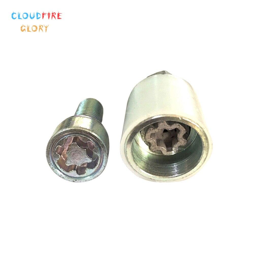 "CloudFireGlory 4F0698139C 806 x2 Wheel Lock Anti Theft Screw Lug Bolt & Key Tool Code Stamp ""F"" For AUDI A3 A4 A5 A6 A7 S5 S6 TT"