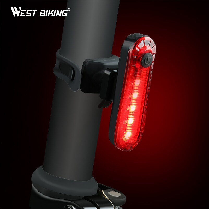 Luz Led trasera para bicicleta WEST BIKING, impermeable, para ciclismo, recargable por USB, luz trasera MTB, luz de seguridad en bicicleta, luz de advertencia para bicicleta