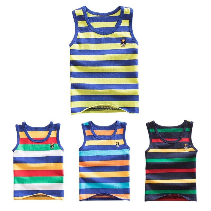 WEIXINBUY 4 Striped Mädchen Jungen Weste Sleeveless Tanks Tops Für Mädchen Gekämmte Baumwolle Kinder Weste Camisoles Hemd Unterwäsche