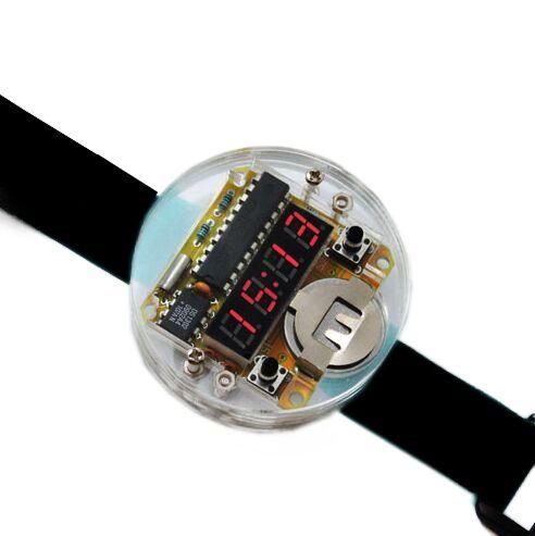 חכם אלקטרוני שבב יחיד LED שעונים אלקטרוניים שעון ערכת DIY LED דיגיטלי שעון אלקטרוני שעון ערכת עם כיסוי שקוף