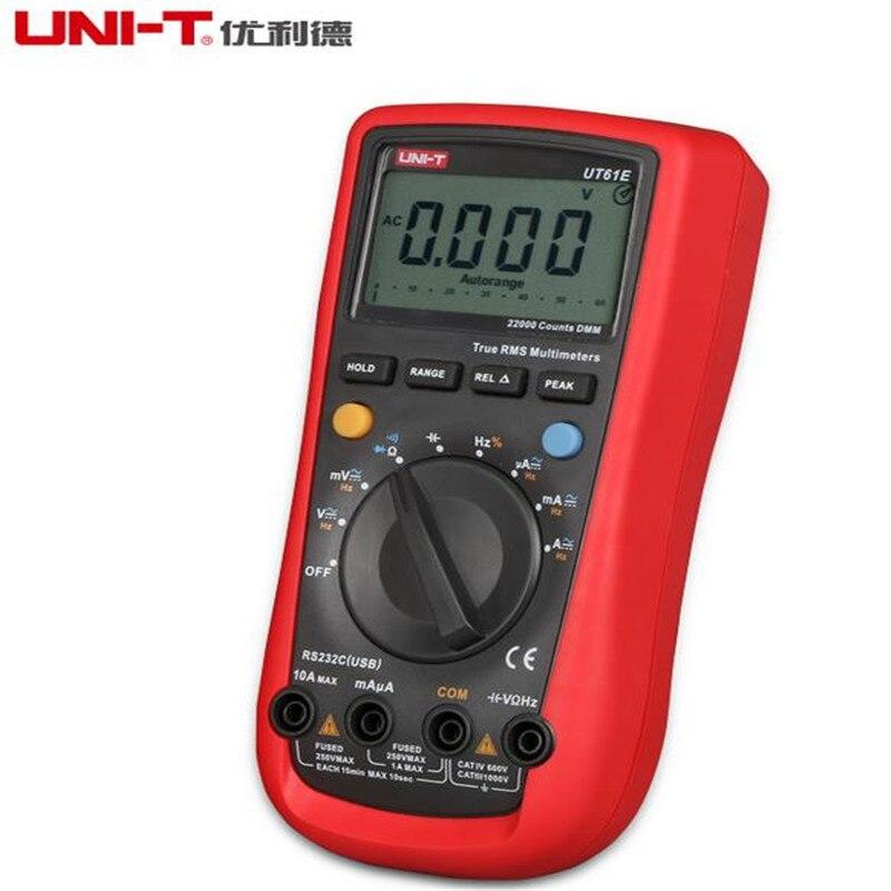 Multímetro Digital UT61E UNI-T, rango automático, valores eficaces auténticos, valor máximo RS232 REL AC/DC, amperimetro uni t UT 61E