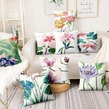 Coussins décoratifs de fleurs tropicales Almofadas 45x45cm   Coussin imprimé de plantes, aquarelle, forme mince, peinture créative, tissu