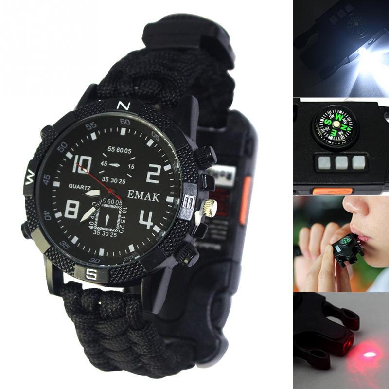 Relógio edc feminino multifuncional, relógio de segurança para acampamento, sobrevivência, multifuncional, ferramenta para lanterna, apito, corda de resgate, para homens, l0407