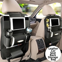 Luxury Car Organizer Back Seat Hanging Storage Pocket PU Leather Seat Back Storage Bag for  Car Acce