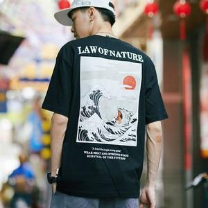 Harajuku Tshirt Japanese Cat Wave Printed Tshirt Ukiyo Korean Style Hip Hop Casual Ulzzang Streetwear T-Shirt