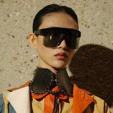 Vintage Lady Oversized Shield Sunglasses Women 2019 New Brand Designer Integrated Flat Top Goggle Mi