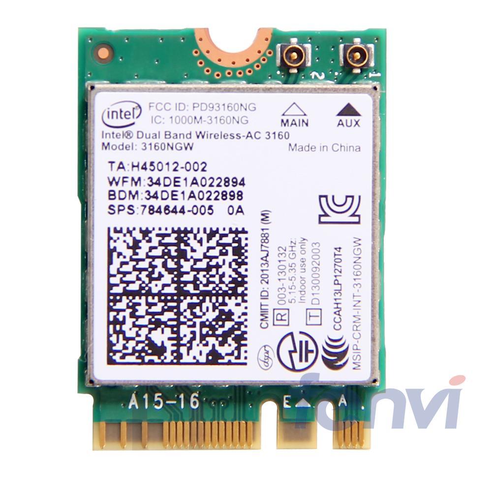 Para intel Dual band Wireless-AC 3160 3160NGW NGFF M.2 Wifi Bluetooth 802.11ac 2,4G/5Ghz Laptop Wlan BT 4,0 Combo tarjeta inalámbrica