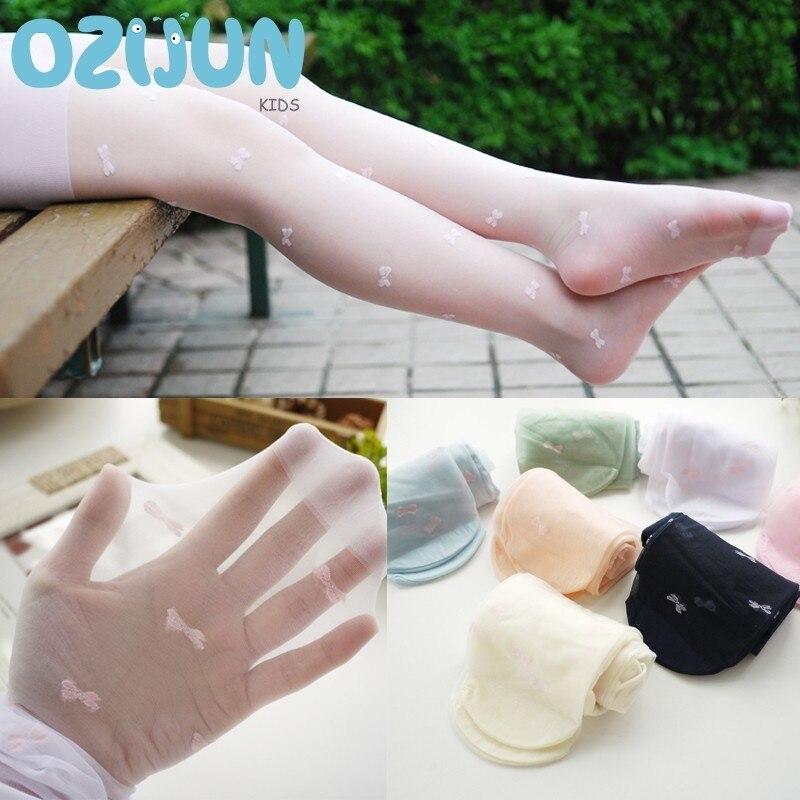Nuevas medias de Ballet transparentes de seda transparente de verano para niñas, pantimedias transparentes de Color caramelo con patrón de lazo S/M/L, calcetines para danza blanca