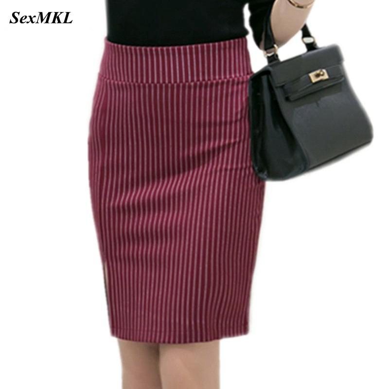 Plus Size Womens Striped Skirts 2020 Winter Elastic Elegant Sexy High Waist Skirt Slim Office Lady Formal Mini Pencil Skirts 5XL