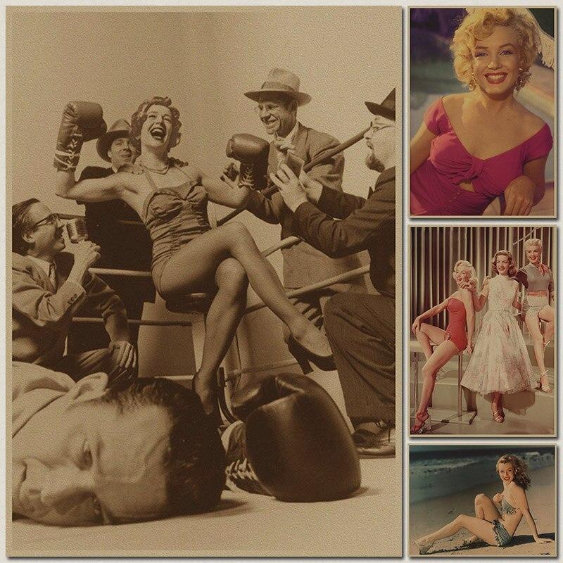 Cartel de adorno Retro Marilyn Monroe, pósteres e impresiones Vintage, Centro de pintura decorativa para sala de estar, papel Kraft