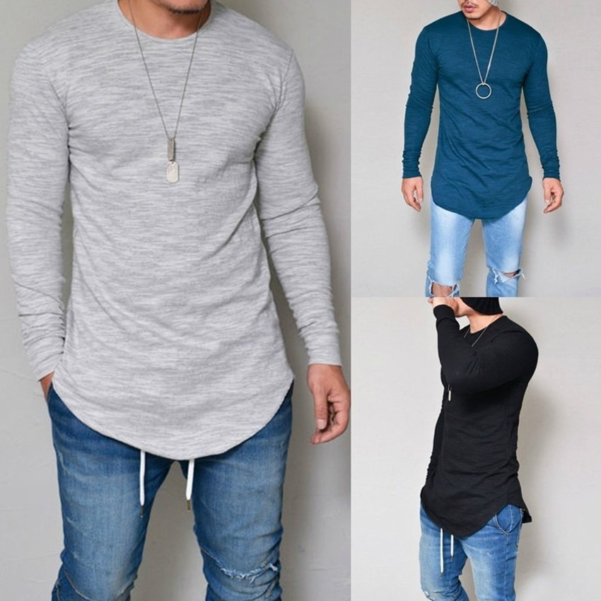 Мужская футболка с длинным рукавом, эластичная мягкая длинная футболка большого размера S-4XL 5XL