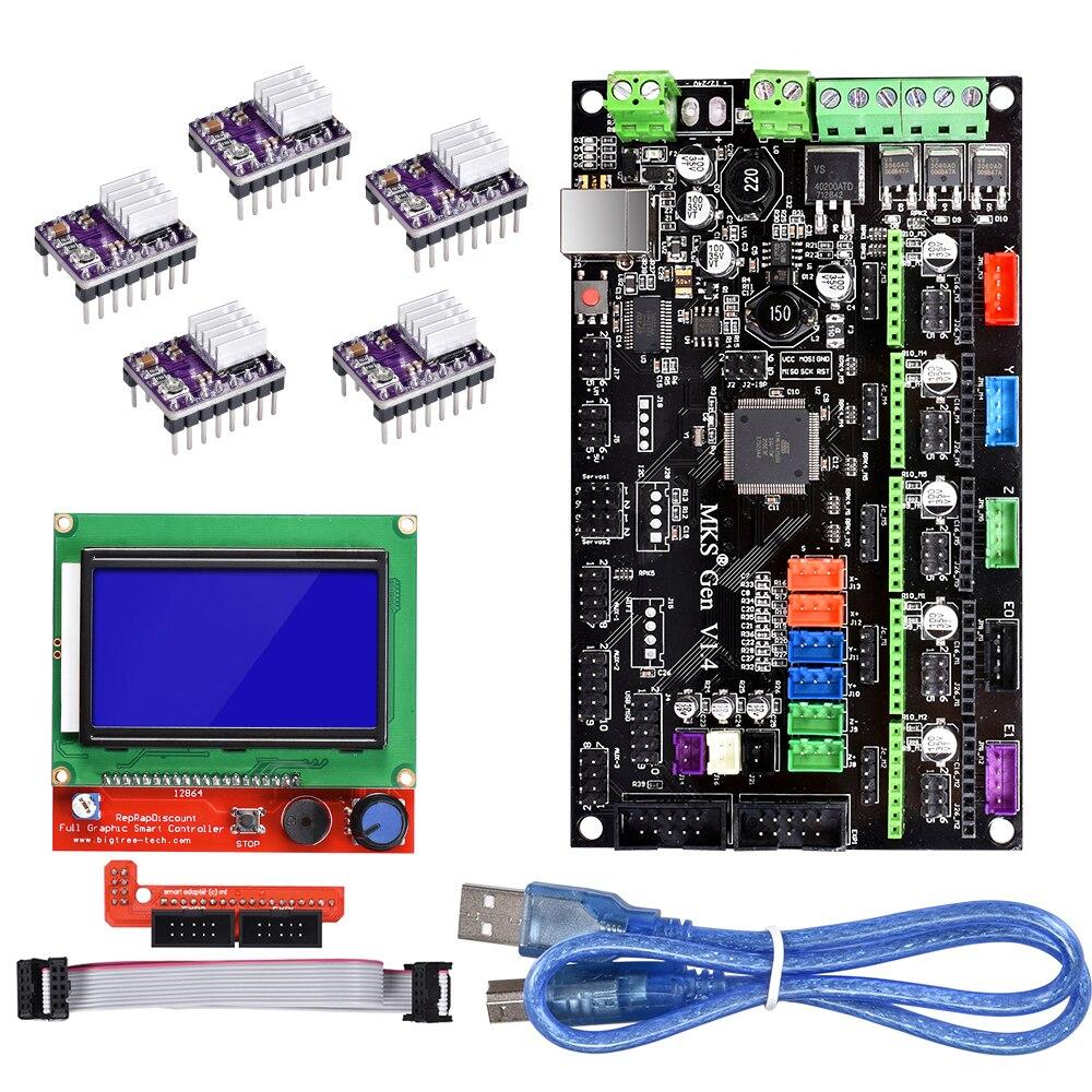 Placa de impresora 3D MKS Gen V1.4 placa madre Reprap rampas 1,4 1,5 1,6 Placa de Control A4988/DRV8825/TMC2130 para pantalla LCD 12864