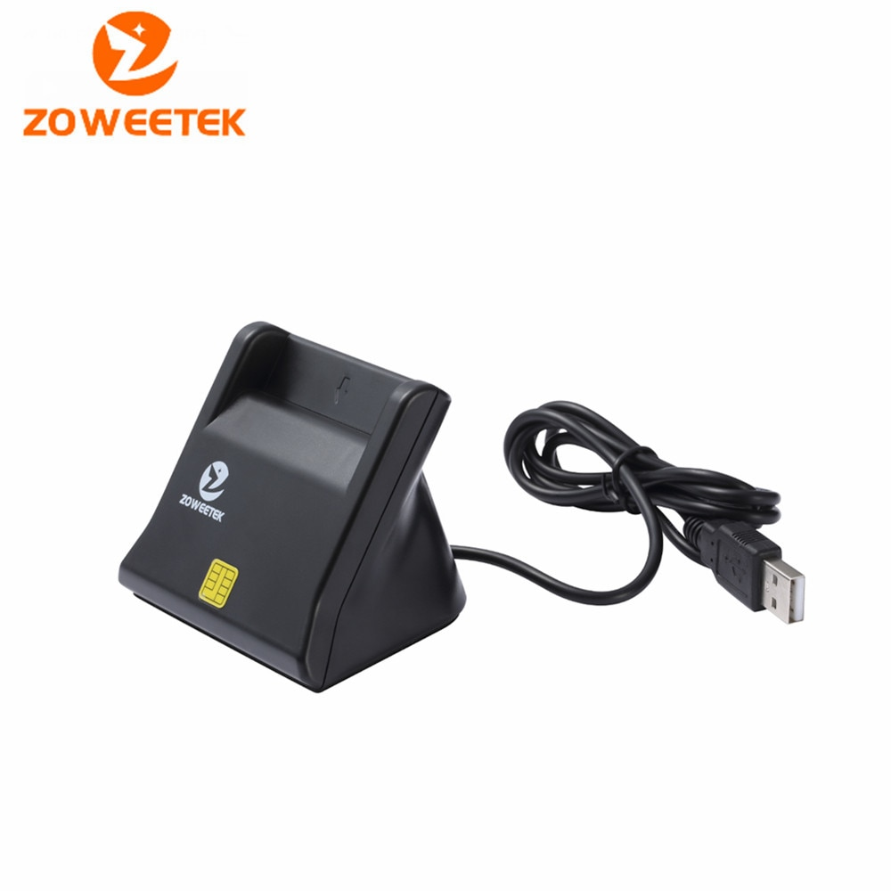100 Zoweetek 12026-3 Smart Card Reader DOD Military USB Smart Card Reader / CAC Common Access with cable sim card adapter