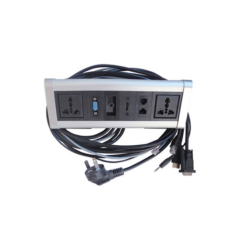 Customizable Triangle Desktop socket for Kitchen Benchtop Worktop Aluminium Alloy Silver Shell with 2 Plug+2 RJ45+3.5+VGA+DHMI