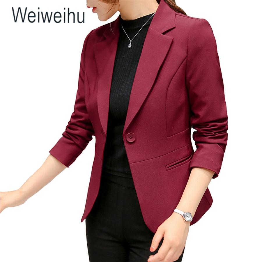 2020 Women's Blazer Pink Long Sleeve Blazers Solid One Button Coat Slim Office Lady Jacket Female Tops Suit Blazer Femme Jackets