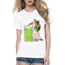 Damskie T-shirt z motywem zwierzęcym drukowanie ekspertów ładny wzór bluzki miłość do picia sok warzywny kot/żaba kot śmieszne kobiety koszulka